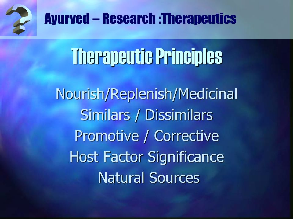 Ayurved – Research :Therapeutics Nourish/Replenish/Medicinal Similars / Dissimilars Promotive / Corrective Host Factor Significance Natural Sources Na