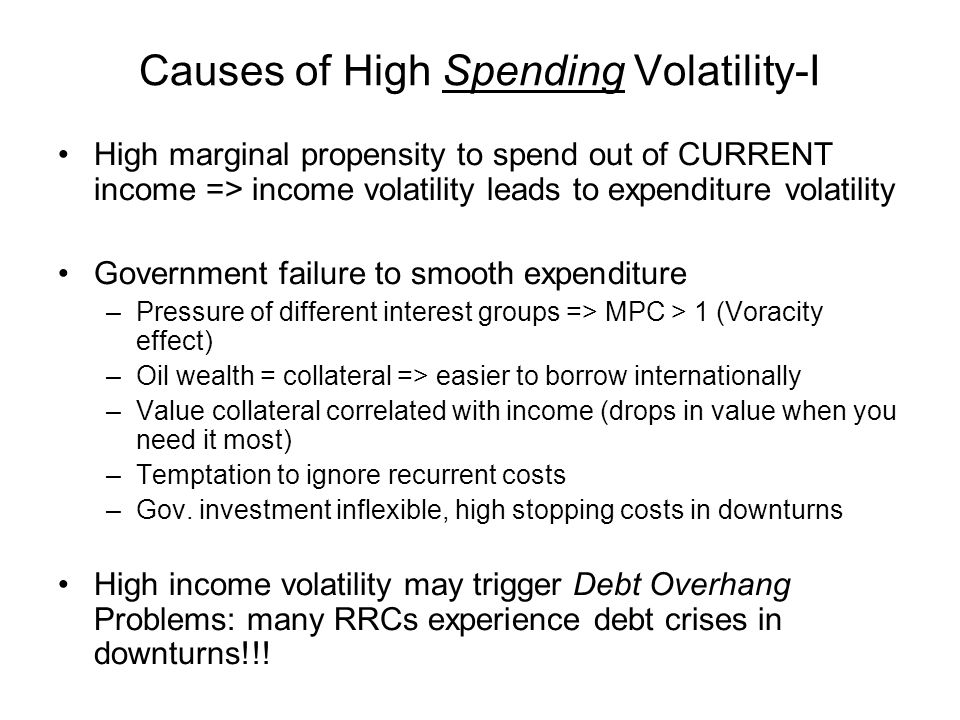 Causes of High Spending Volatility-I High marginal propensity to spend out of CURRENT income => income volatility leads to expenditure volatility Government failure to smooth expenditure –Pressure of different interest groups => MPC > 1 (Voracity effect) –Oil wealth = collateral => easier to borrow internationally –Value collateral correlated with income (drops in value when you need it most) –Temptation to ignore recurrent costs –Gov.