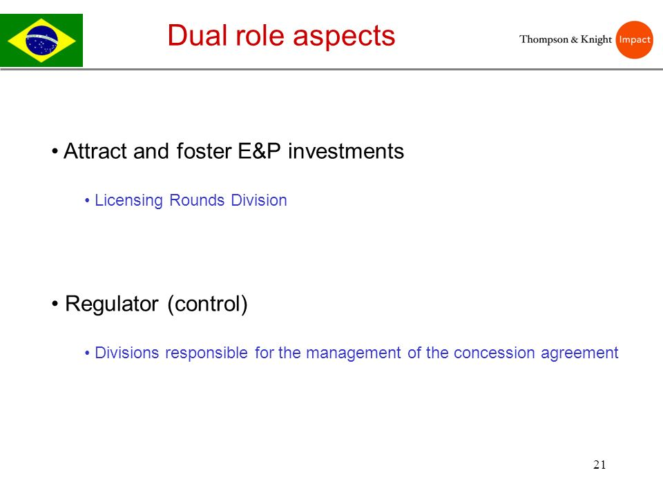 21 Dual role aspects Attract and foster E&P investments Licensing Rounds Division Regulator (control) Divisions responsible for the management of the