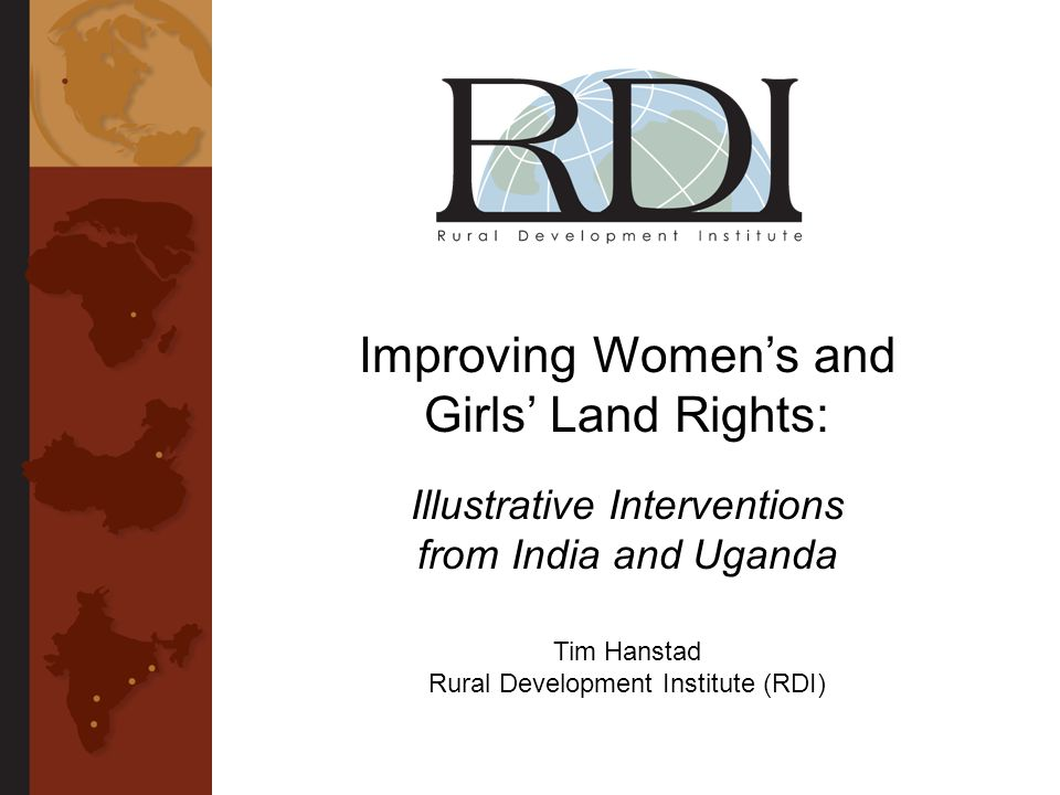 Outline I.Introduction 1.Why do womens land rights matter.