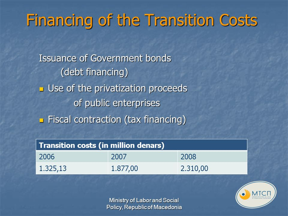 Financing of the Transition Costs Issuance of Government bonds (debt financing) Use of the privatization proceeds Use of the privatization proceeds of public enterprises of public enterprises Fiscal contraction (tax financing) Fiscal contraction (tax financing) Ministry of Labor and Social Policy, Republic of Macedonia Transition costs (in million denars) 200620072008 1.325,131.877,002.310,00