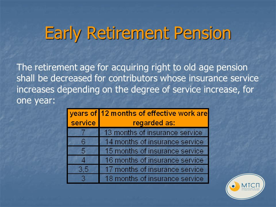 Early Retirement Pension The retirement age for acquiring right to old age pension shall be decreased for contributors whose insurance service increases depending on the degree of service increase, for one year: