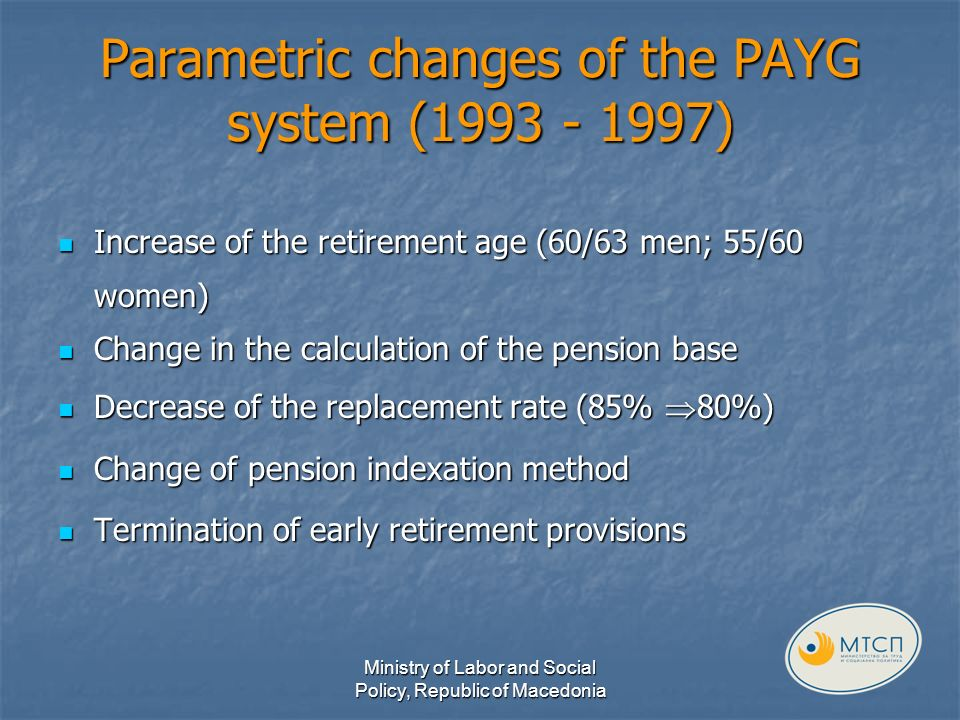 Parametric changes of the PAYG system (1993 - 1997) Increase of the retirement age (60/63 men; 55/60 women) Increase of the retirement age (60/63 men; 55/60 women) Change in the calculation of the pension base Change in the calculation of the pension base Decrease of the replacement rate (85% 80%) Decrease of the replacement rate (85% 80%) Change of pension indexation method Change of pension indexation method Termination of early retirement provisions Termination of early retirement provisions Ministry of Labor and Social Policy, Republic of Macedonia