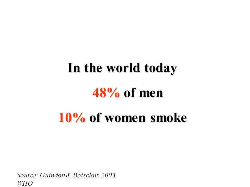 Source: Guindon & Boisclair. 2003. WHO In the world today 48% of men 10% of women smoke