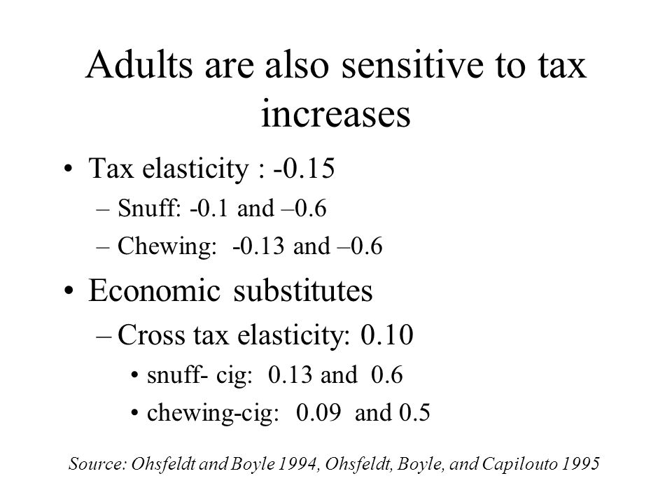 Adults are also sensitive to tax increases Tax elasticity : –Snuff: -0.1 and –0.6 –Chewing: and –0.6 Economic substitutes –Cross tax elasticity: 0.10 snuff- cig: 0.13 and 0.6 chewing-cig: 0.09 and 0.5 Source: Ohsfeldt and Boyle 1994, Ohsfeldt, Boyle, and Capilouto 1995