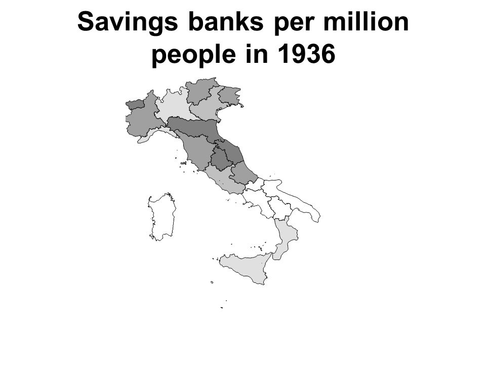 Savings banks per million people in 1936