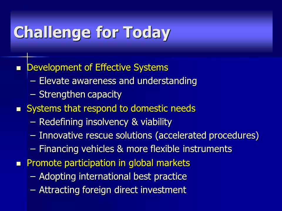 Development of Effective Systems Development of Effective Systems –Elevate awareness and understanding –Strengthen capacity Systems that respond to domestic needs Systems that respond to domestic needs –Redefining insolvency & viability –Innovative rescue solutions (accelerated procedures) –Financing vehicles & more flexible instruments Promote participation in global markets Promote participation in global markets –Adopting international best practice –Attracting foreign direct investment Challenge for Today