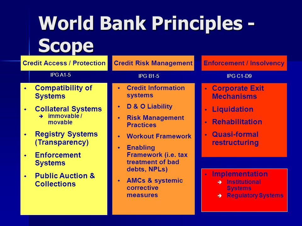 World Bank Principles - Scope Credit Information systems D & O Liability Risk Management Practices Workout Framework Enabling Framework (i.e. tax trea