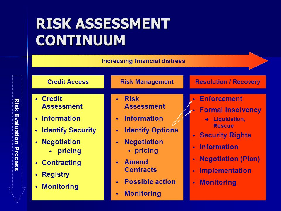 RISK ASSESSMENT CONTINUUM Credit Assessment Information Identify Security Negotiation pricing Contracting Registry Monitoring Risk Assessment Informat