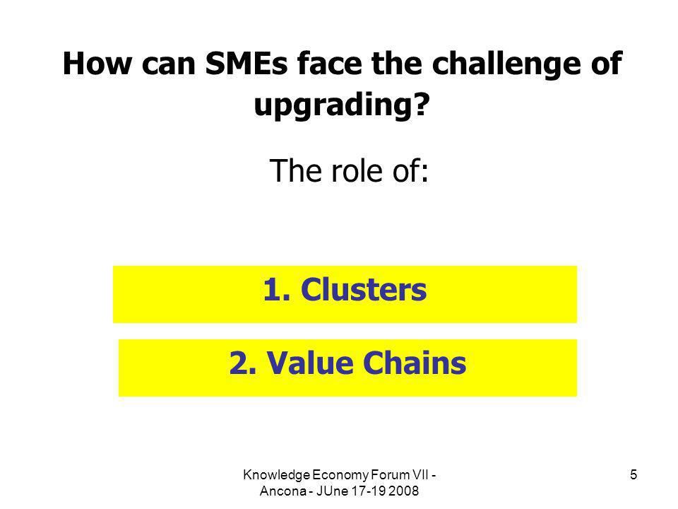 Knowledge Economy Forum VII - Ancona - JUne 17-19 2008 5 How can SMEs face the challenge of upgrading? The role of: 1. Clusters 2. Value Chains