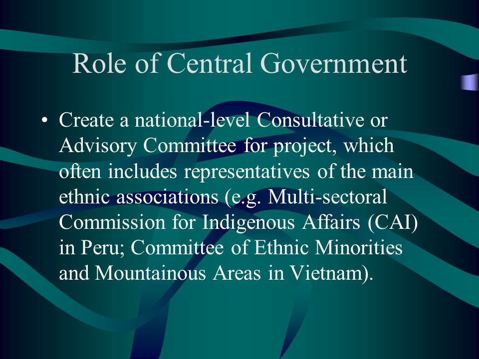 Role of Central Government Create a national-level Consultative or Advisory Committee for project, which often includes representatives of the main ethnic associations (e.g.