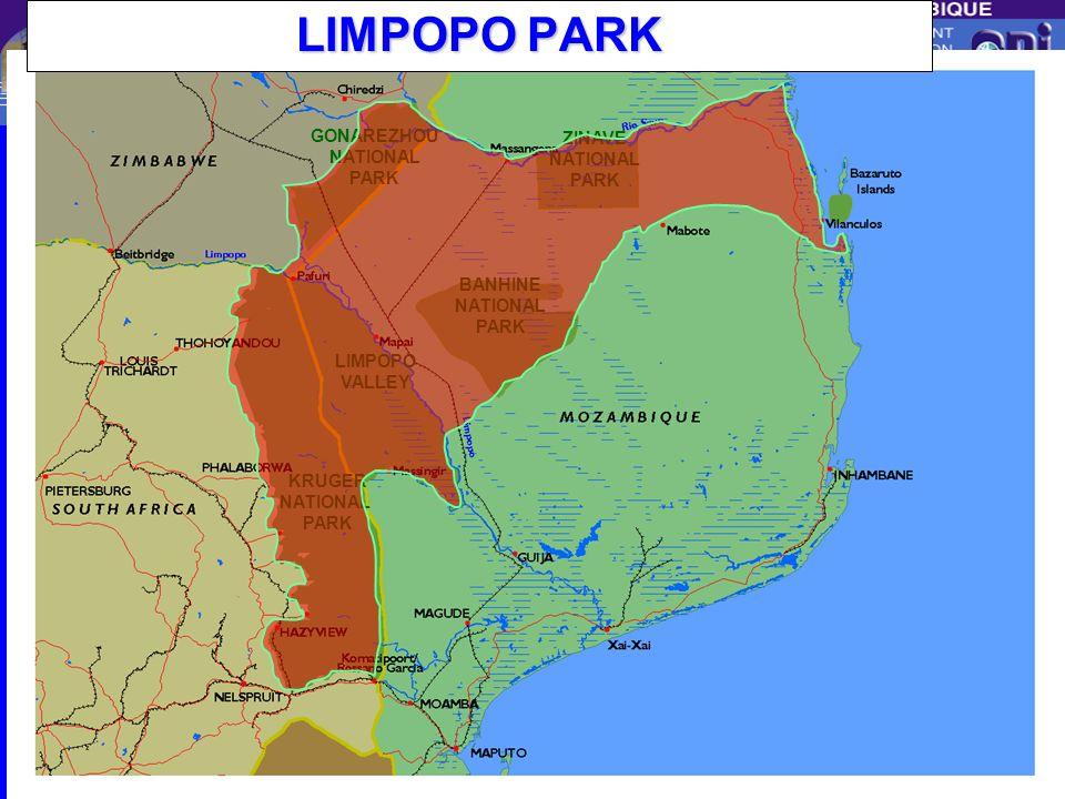 Centro de Promoção de Investimentos KRUGER NATIONAL PARK LIMPOPO VALLEY BANHINE NATIONAL PARK ZINAVE NATIONAL PARK GONAREZHOU NATIONAL PARK Limpopo SD