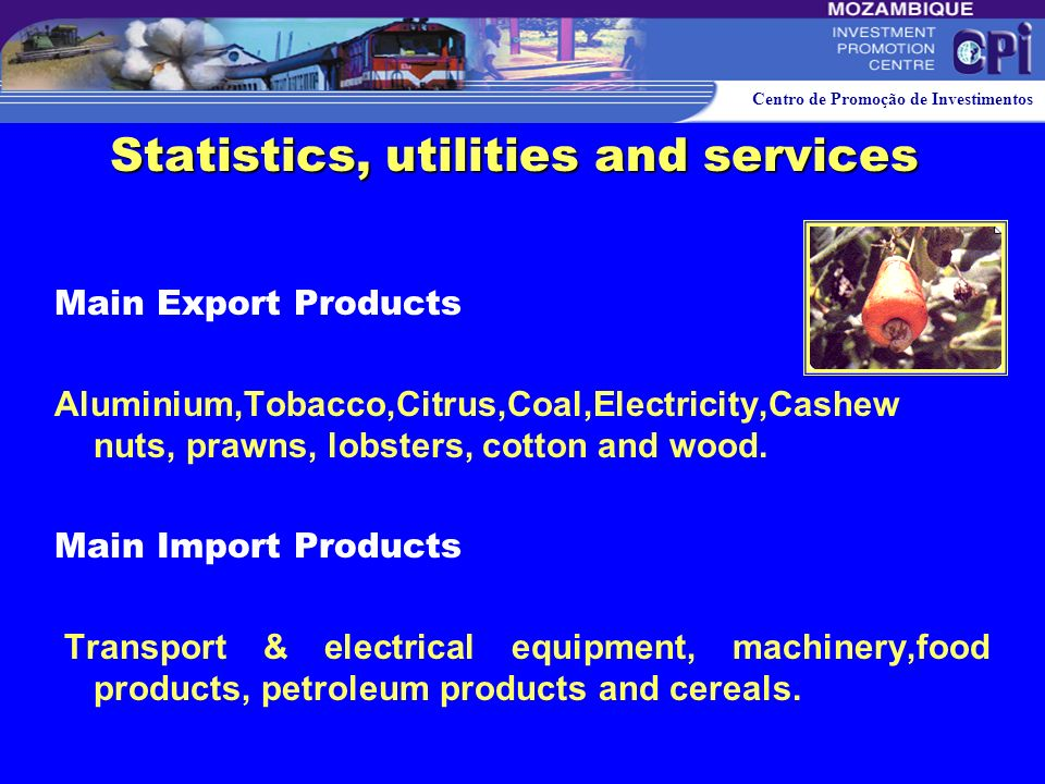 Centro de Promoção de Investimentos Foreign Trade*** Exports US$ 703 million Imports US$ 1 063 million ***) - INE 2002. Statistics, utilities and serv