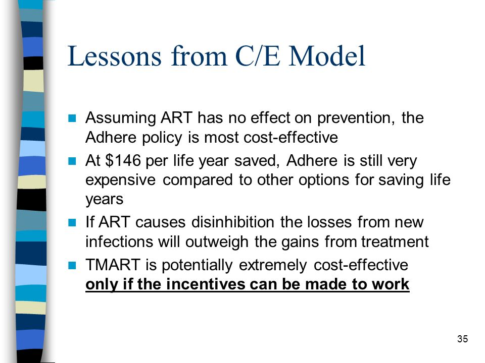 35 Lessons from C/E Model Assuming ART has no effect on prevention, the Adhere policy is most cost-effective At $146 per life year saved, Adhere is still very expensive compared to other options for saving life years If ART causes disinhibition the losses from new infections will outweigh the gains from treatment TMART is potentially extremely cost-effective only if the incentives can be made to work