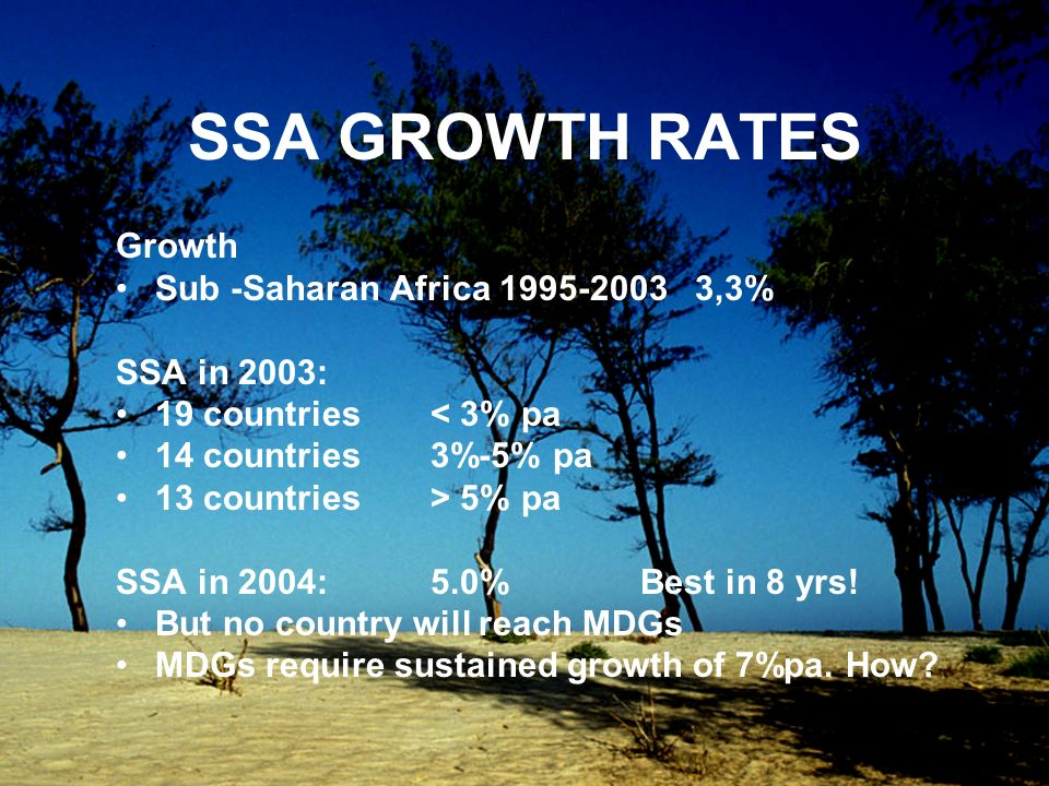 SSA GROWTH RATES Growth Sub -Saharan Africa 1995-2003 3,3% SSA in 2003: 19 countries < 3% pa 14 countries 3%-5% pa 13 countries > 5% pa SSA in 2004: 5