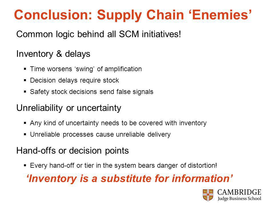 Conclusion: Supply Chain Enemies Common logic behind all SCM initiatives.