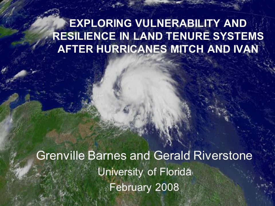Hurricane Ivan in Grenada September 2004 Primarily a wind event Devastated housing stock Major impacts to agricultural sector Losses 2 x GDP