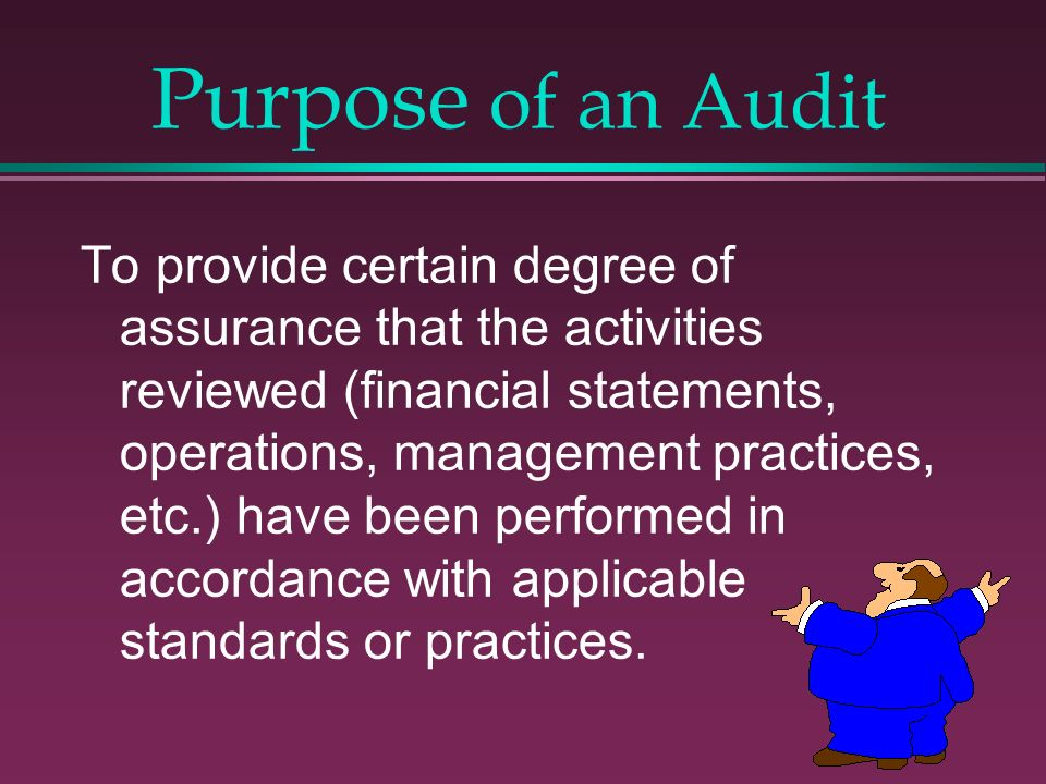 Purpose of an Audit To provide certain degree of assurance that the activities reviewed (financial statements, operations, management practices, etc.)
