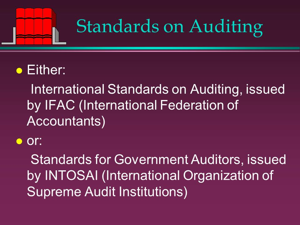 Standards on Auditing l Either: International Standards on Auditing, issued by IFAC (International Federation of Accountants) l or: Standards for Gove