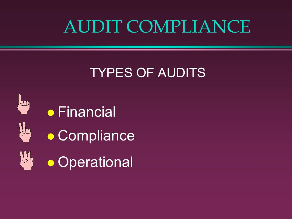 AUDIT COMPLIANCE TYPES OF AUDITS l Financial l Compliance l Operational