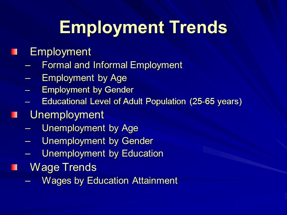 Key labour market indicators Key labour market indicators for working-age population (15-64) in 2002 Population Census LFS (without temporary active) LFS (with temporary active) LSMSNES Participation rate64.864.268.464.6- Employment rate50.354.258.556.6- Unemployment rate 22.315.414.512.426.3 The major problem - relatively high participation and employment rates have been maintained thanks to comparatively high level of informal economic activity.
