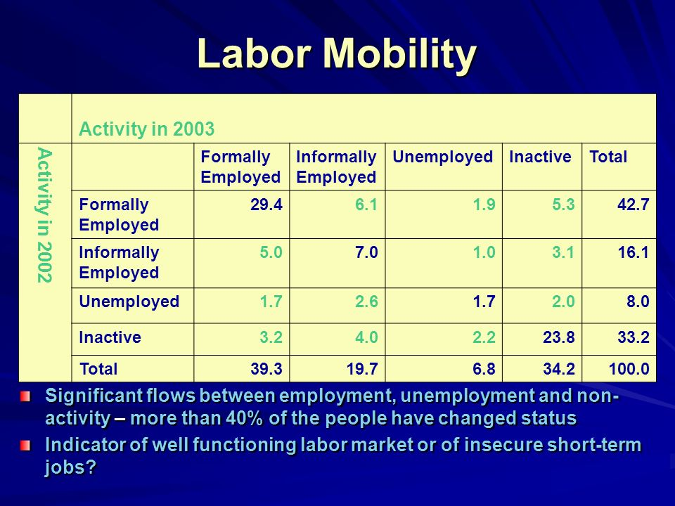 Labor Mobility Significant flows between employment, unemployment and non- activity – more than 40% of the people have changed status Indicator of well functioning labor market or of insecure short-term jobs.