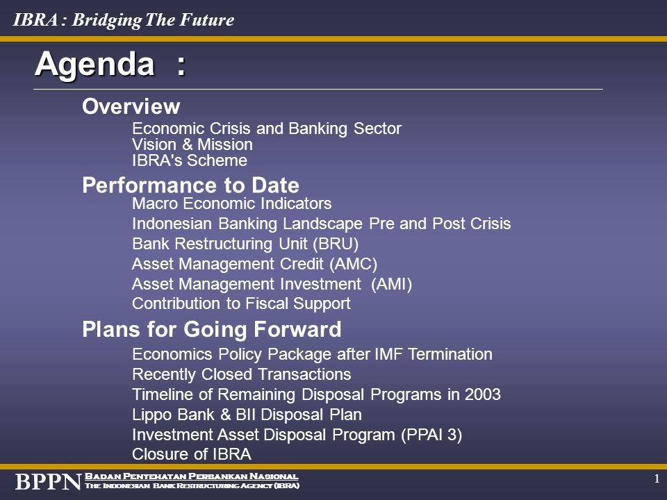 BPPN Badan Penyehatan Perbankan Nasional The Indonesian Bank Restructuring Agency (IBRA) IBRA : Bridging The Future I B R A 3 rd Forum on Asian Insolv
