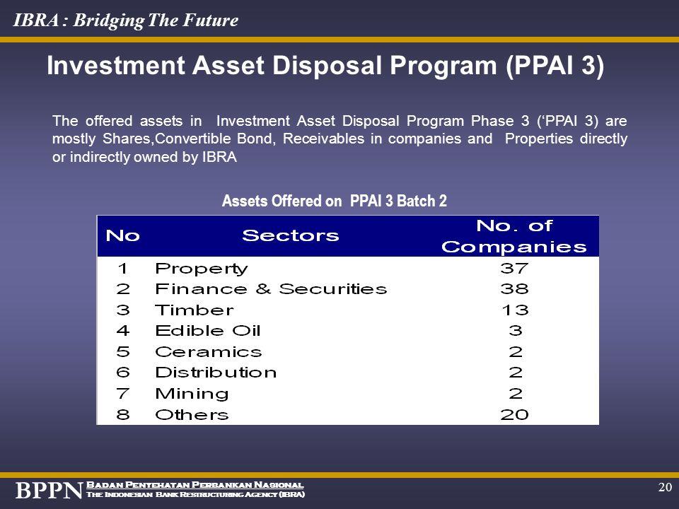 BPPN Badan Penyehatan Perbankan Nasional The Indonesian Bank Restructuring Agency (IBRA) IBRA : Bridging The Future 19 June JulyAugSeptOctNov Dec JanF