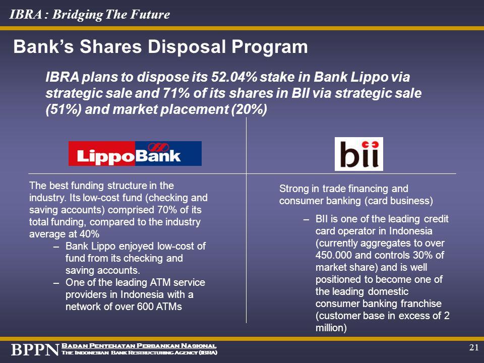 BPPN Badan Penyehatan Perbankan Nasional The Indonesian Bank Restructuring Agency (IBRA) IBRA : Bridging The Future 20 The offered assets in Investmen
