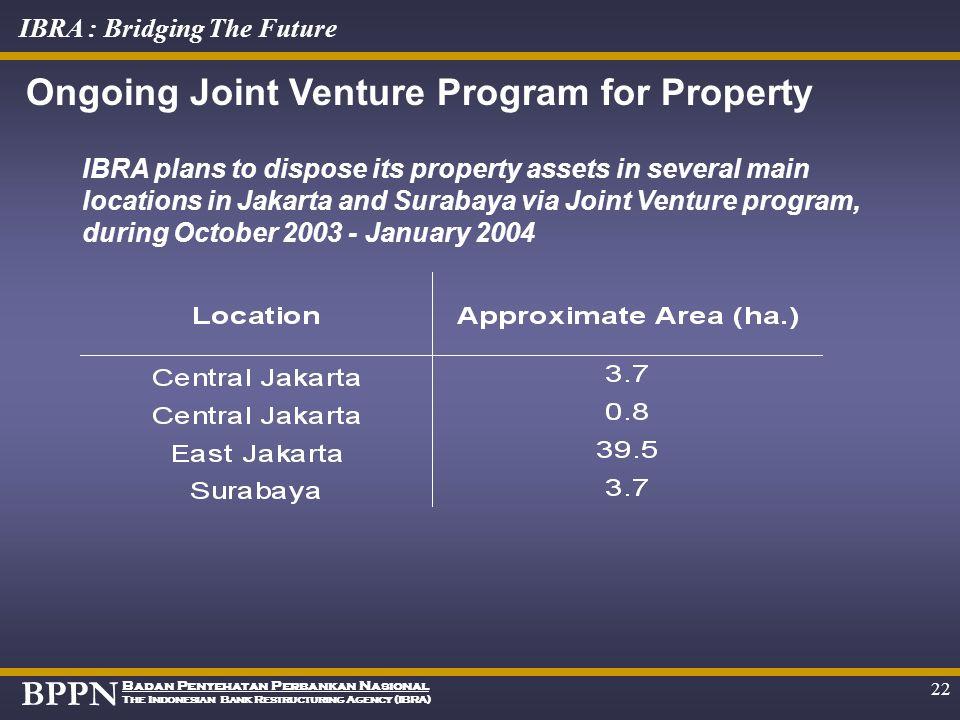 BPPN Badan Penyehatan Perbankan Nasional The Indonesian Bank Restructuring Agency (IBRA) IBRA : Bridging The Future 21 IBRA plans to dispose its 52.04