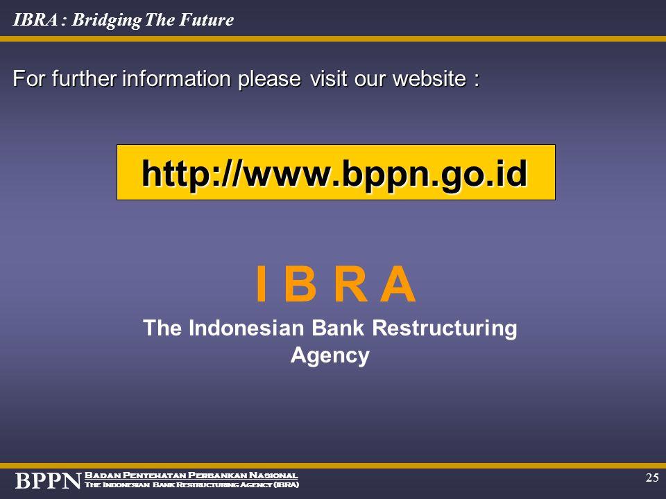 BPPN Badan Penyehatan Perbankan Nasional The Indonesian Bank Restructuring Agency (IBRA) IBRA : Bridging The Future 24 Flow of IBRA's Remaining Assets