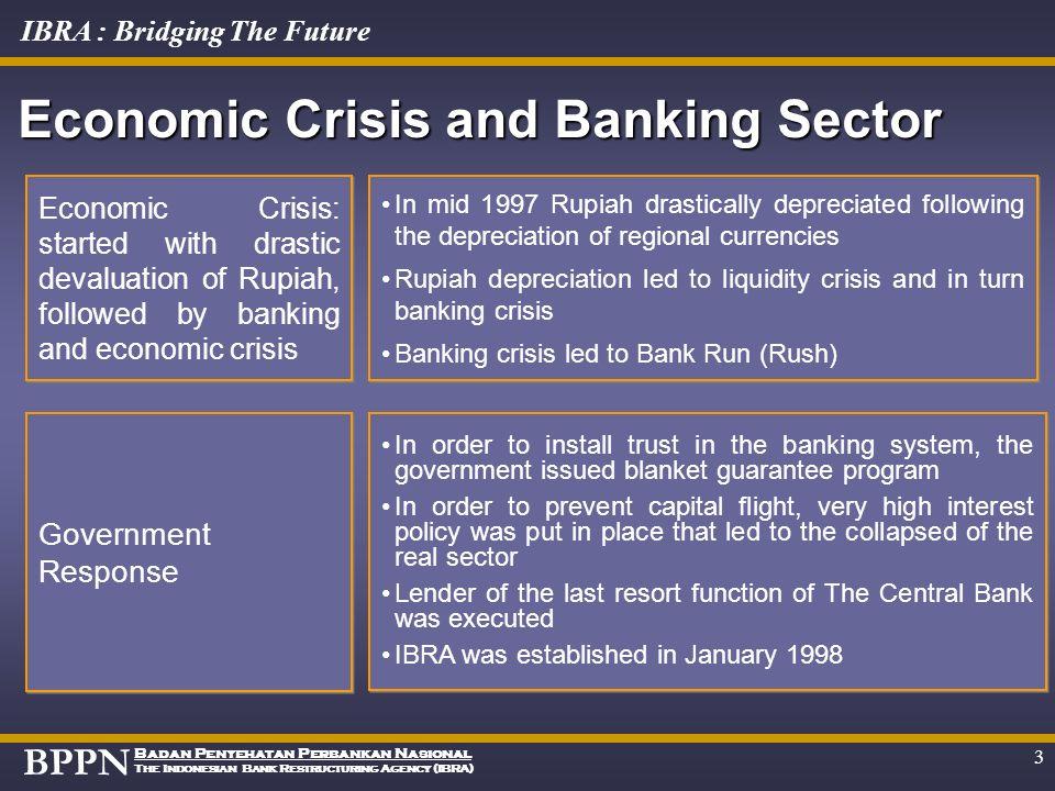BPPN Badan Penyehatan Perbankan Nasional The Indonesian Bank Restructuring Agency (IBRA) IBRA : Bridging The Future 2 Economic Crisis and Banking Sect