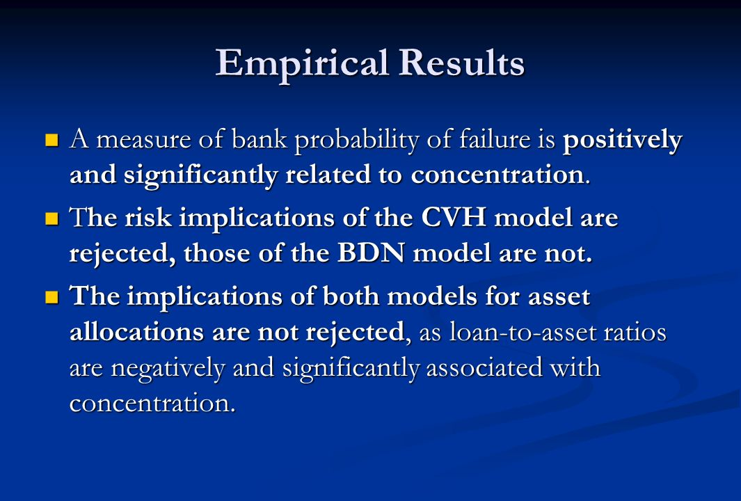 Empirical Results A measure of bank probability of failure is positively and significantly related to concentration.
