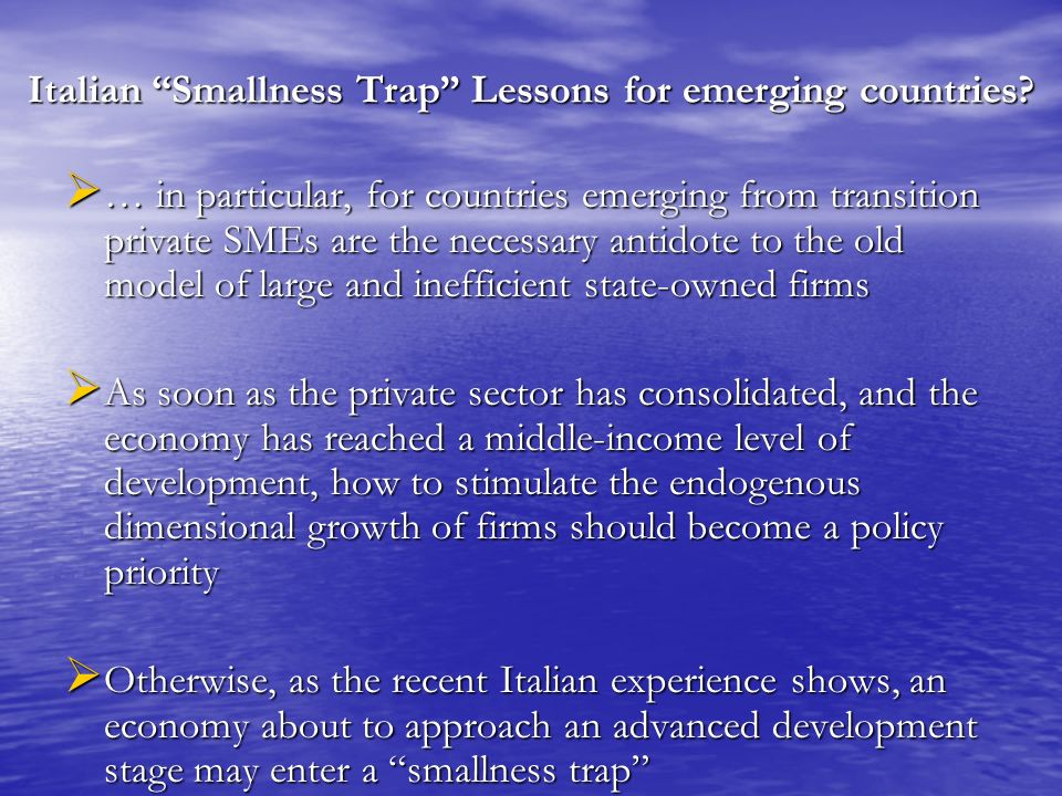 Italian Smallness Trap Lessons for emerging countries.
