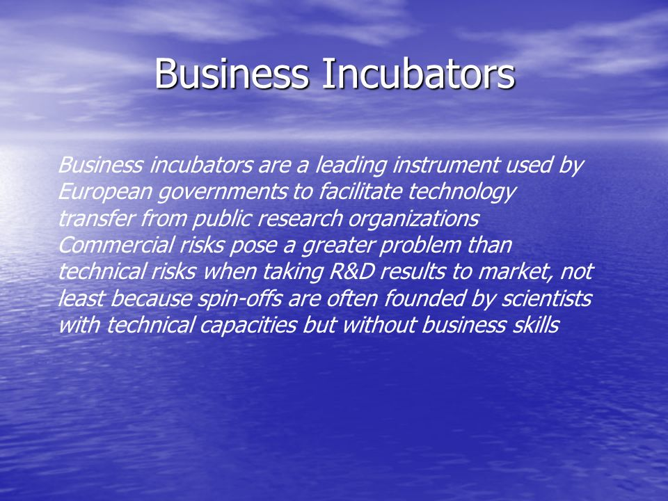 Business Incubators Business incubators are a leading instrument used by European governments to facilitate technology transfer from public research organizations Commercial risks pose a greater problem than technical risks when taking R&D results to market, not least because spin-offs are often founded by scientists with technical capacities but without business skills