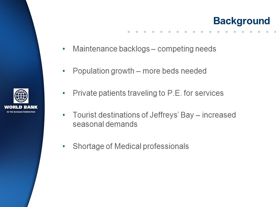 Background Maintenance backlogs – competing needs Population growth – more beds needed Private patients traveling to P.E.