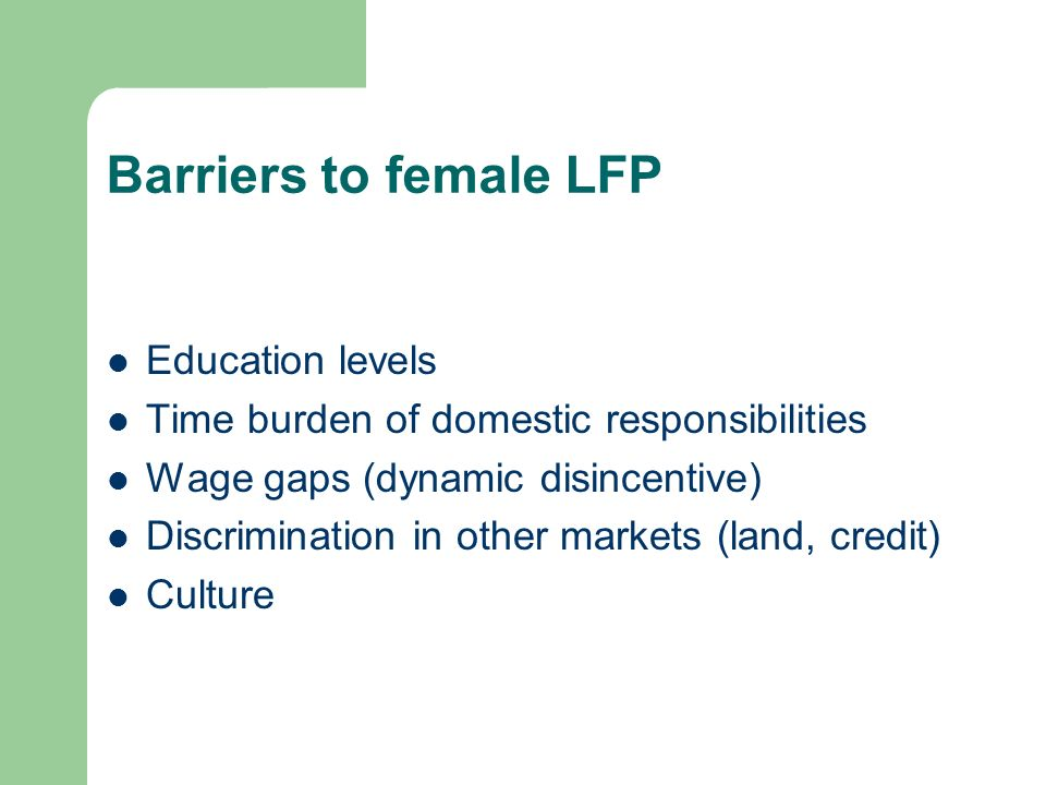 Barriers to female LFP Education levels Time burden of domestic responsibilities Wage gaps (dynamic disincentive) Discrimination in other markets (land, credit) Culture