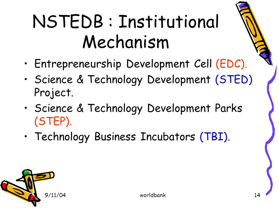 9/11/04worldbank14 NSTEDB : Institutional Mechanism Entrepreneurship Development Cell (EDC).