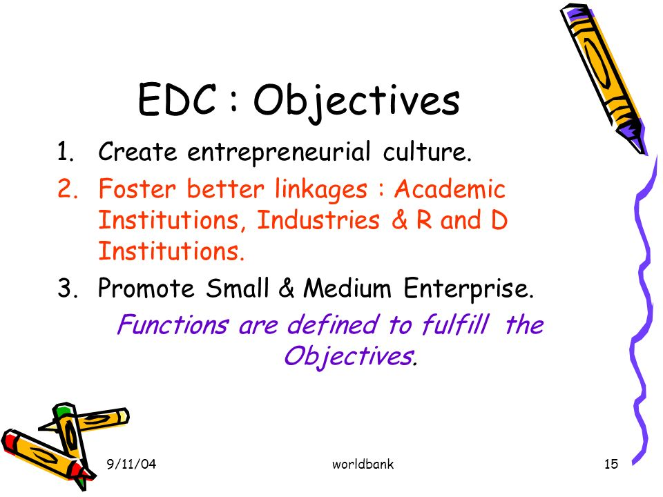 9/11/04worldbank15 EDC : Objectives 1.Create entrepreneurial culture.