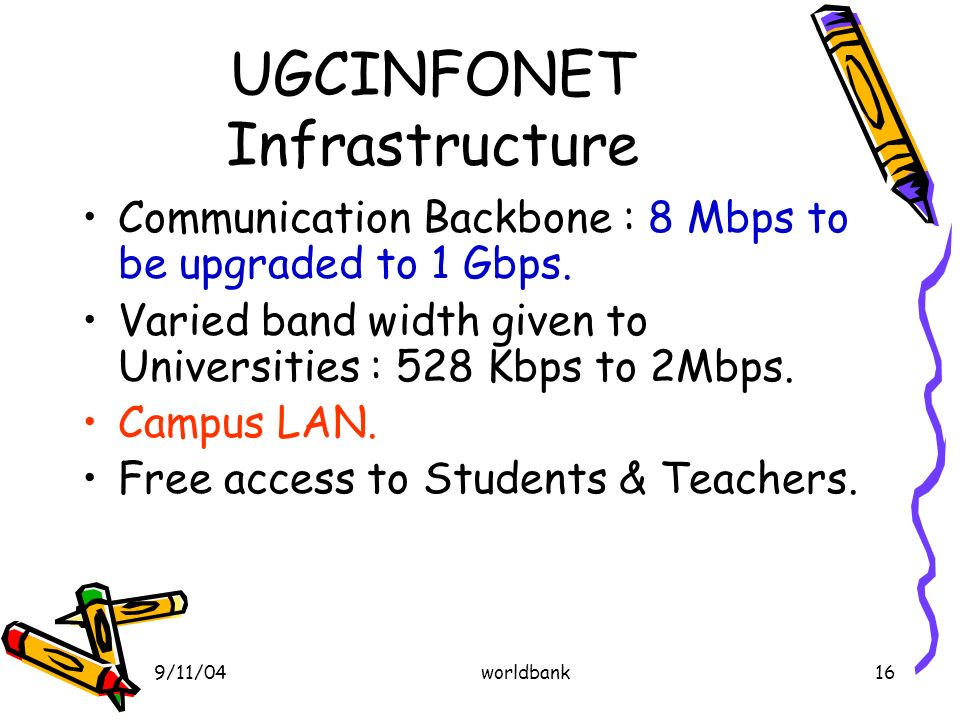 9/11/04worldbank16 UGCINFONET Infrastructure Communication Backbone : 8 Mbps to be upgraded to 1 Gbps.