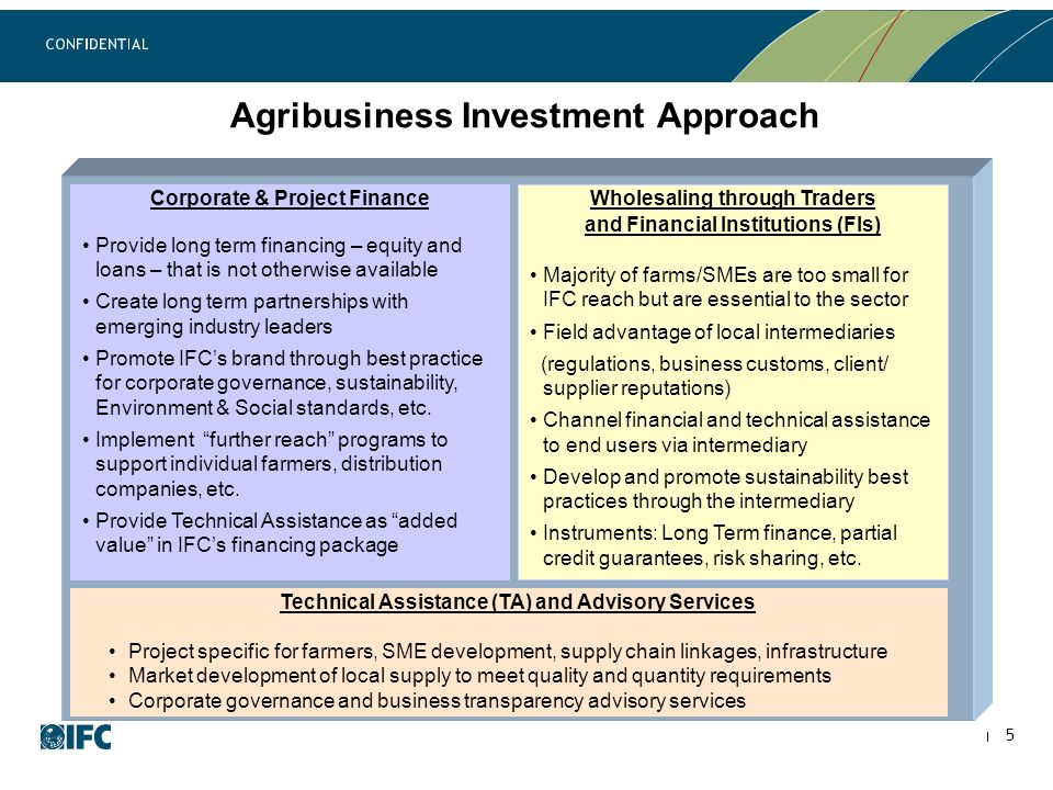 Agribusiness Investment Approach Corporate & Project Finance Provide long term financing – equity and loans – that is not otherwise available Create long term partnerships with emerging industry leaders Promote IFCs brand through best practice for corporate governance, sustainability, Environment & Social standards, etc.