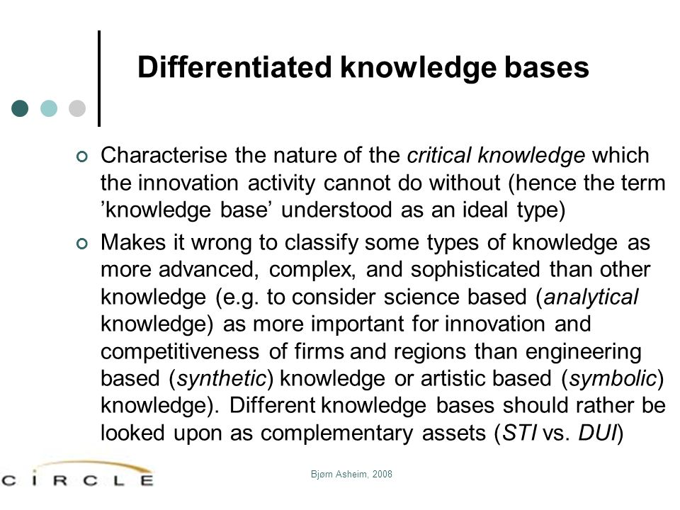 Bjørn Asheim, 2008 Differentiated knowledge bases Characterise the nature of the critical knowledge which the innovation activity cannot do without (h