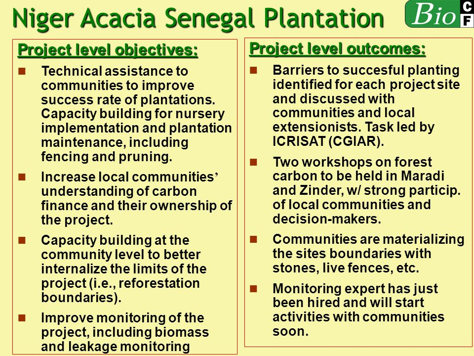 Project level objectives: Technical assistance to communities to improve success rate of plantations.