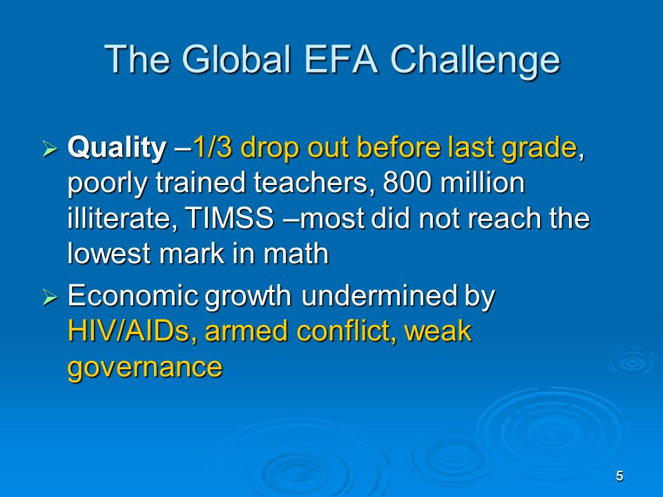 5 The Global EFA Challenge Quality –1/3 drop out before last grade, poorly trained teachers, 800 million illiterate, TIMSS –most did not reach the lowest mark in math Quality –1/3 drop out before last grade, poorly trained teachers, 800 million illiterate, TIMSS –most did not reach the lowest mark in math Economic growth undermined by HIV/AIDs, armed conflict, weak governance Economic growth undermined by HIV/AIDs, armed conflict, weak governance