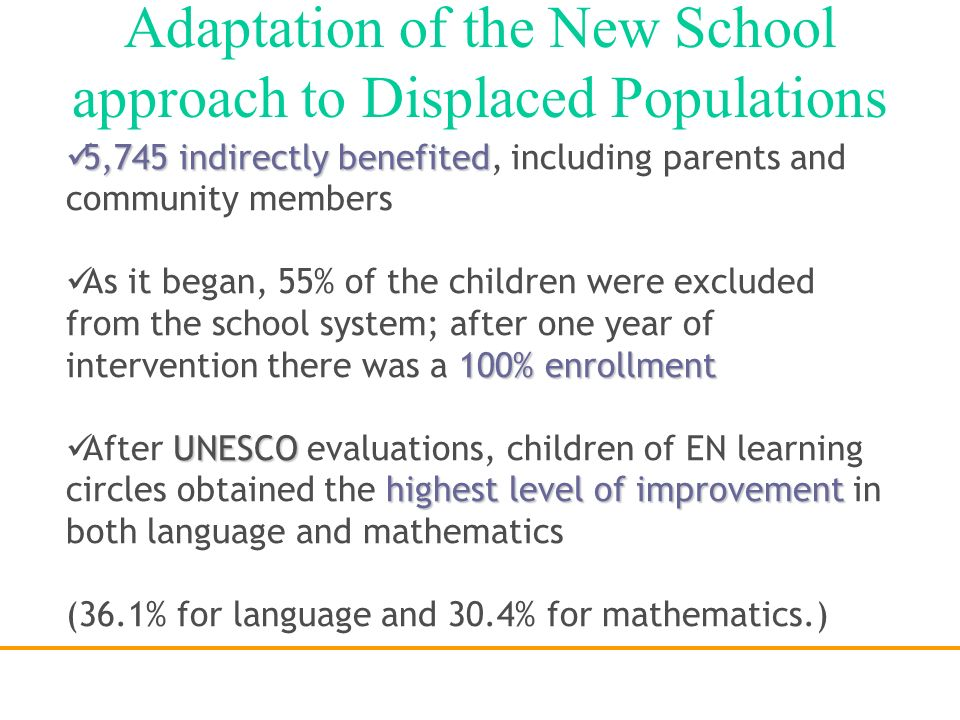 1998ENF 1998: ENF implemented the Model in 20 low-income schools of Bogotá, identified with the poorest academic performance in a local standardized t