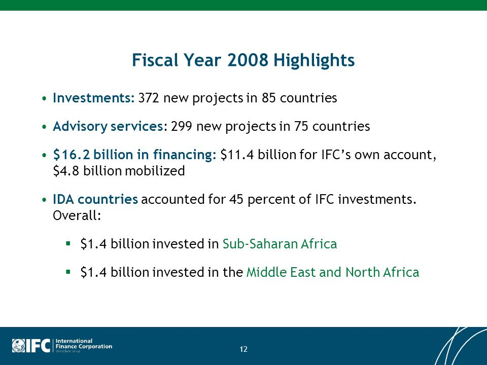 12 Fiscal Year 2008 Highlights Investments: 372 new projects in 85 countries Advisory services: 299 new projects in 75 countries $16.2 billion in financing: $11.4 billion for IFCs own account, $4.8 billion mobilized IDA countries accounted for 45 percent of IFC investments.