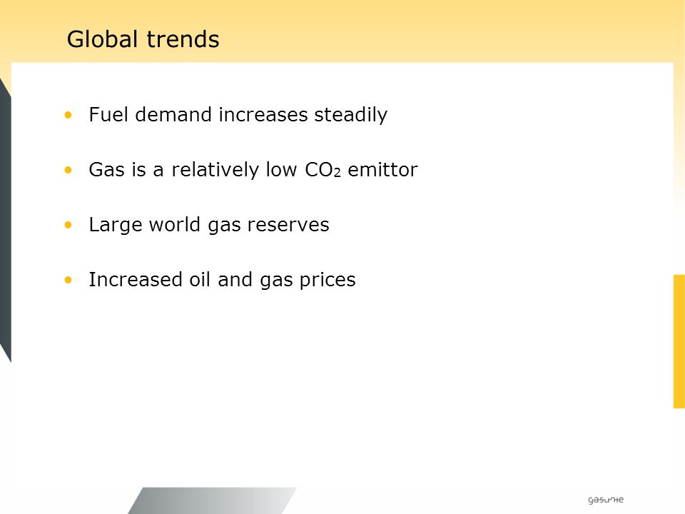 Global trends Fuel demand increases steadily Gas is a relatively low CO 2 emittor Large world gas reserves Increased oil and gas prices