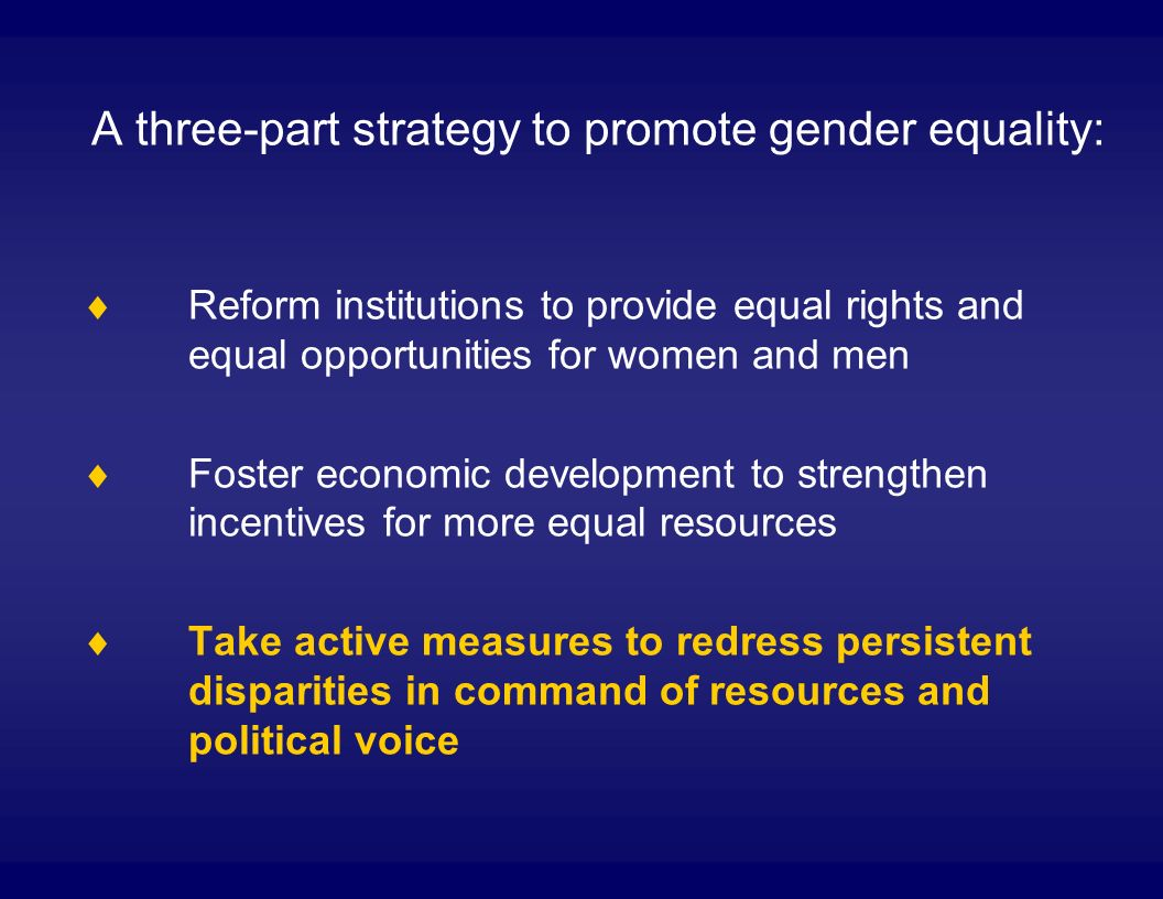 A three-part strategy to promote gender equality: Reform institutions to provide equal rights and equal opportunities for women and men Foster economic development to strengthen incentives for more equal resources Take active measures to redress persistent disparities in command of resources and political voice