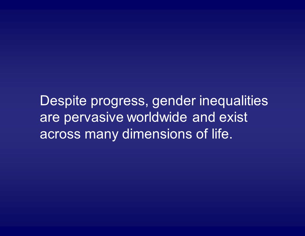Despite progress, gender inequalities are pervasive worldwide and exist across many dimensions of life.