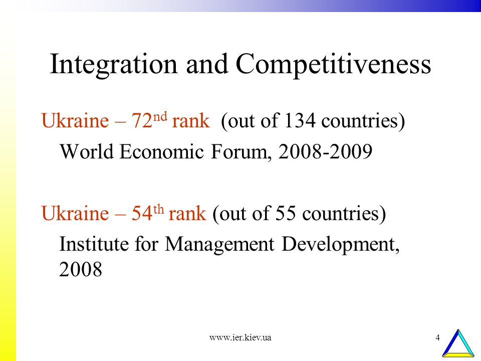 www.ier.kiev.ua4 Integration and Competitiveness Ukraine – 72 nd rank (out of 134 countries) World Economic Forum, 2008-2009 Ukraine – 54 th rank (out of 55 countries) Institute for Management Development, 2008